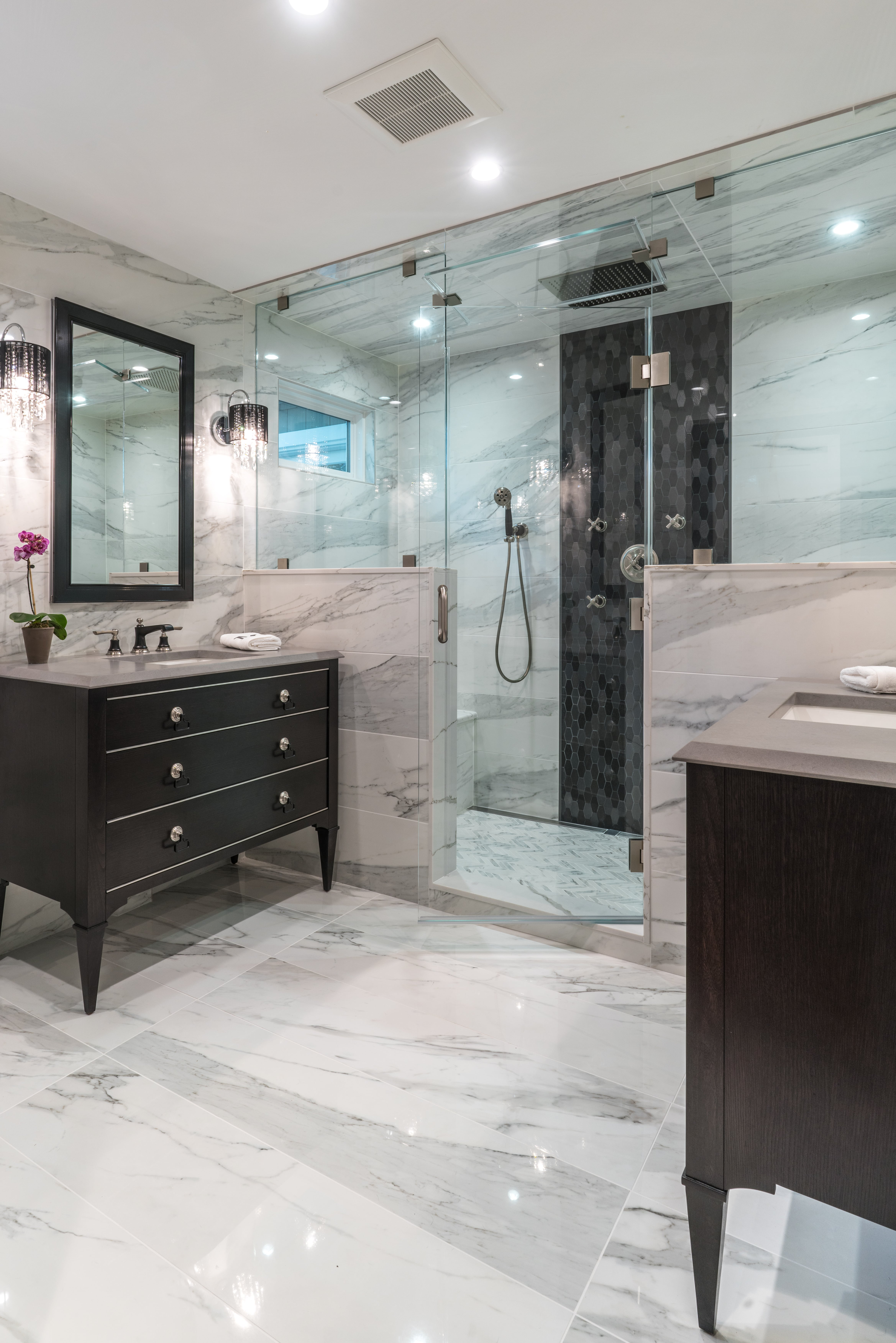 Bathroom Glass Tile Mosaics & Marble Tile Northern