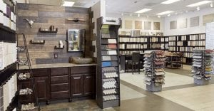 Conestoga Tile showroom showing ceramic tile and natural stone installations