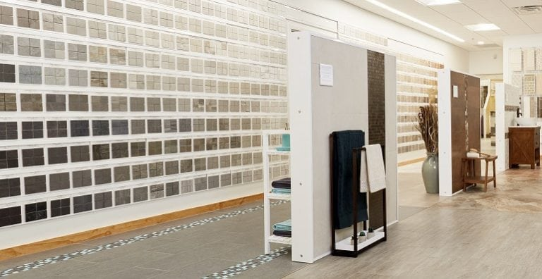 A wall of many colors of ceramic and porcelain tile at a Conestoga Ceramic Tile showroom