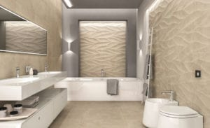 Novabell Sovereign tile in a bath room with white plumbing features