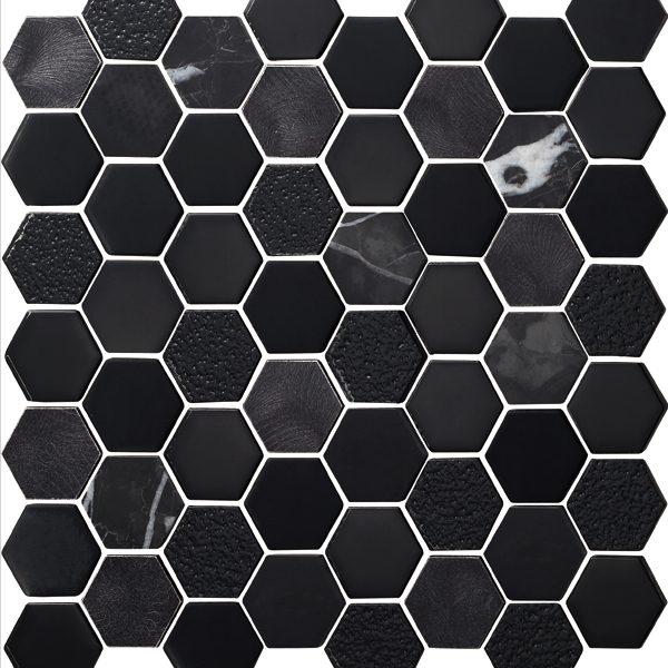 "Obsidian Metallic 2"" Hexagon Mosaic"