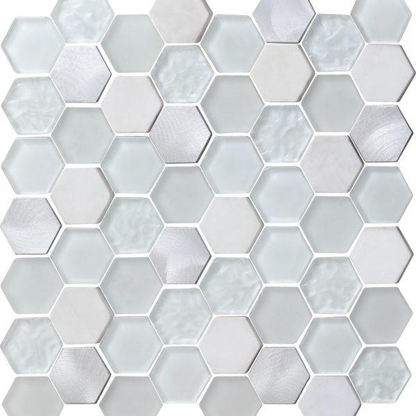 "Pearl Metallic 2"" Hexagon Mosaic"