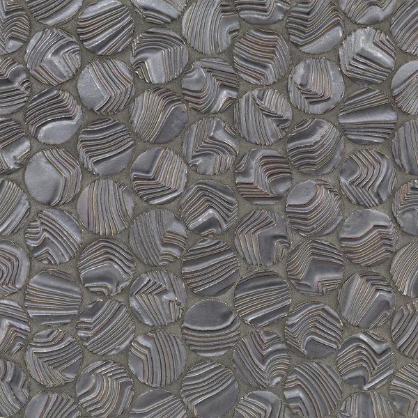 Dark Silver Round Ripples Mosaic