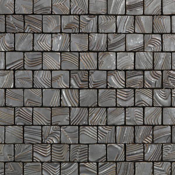 Dark Silver Square Ripples Mosaic