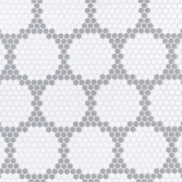 "Grey Herald 5/8"" Hexagon Mosaic"
