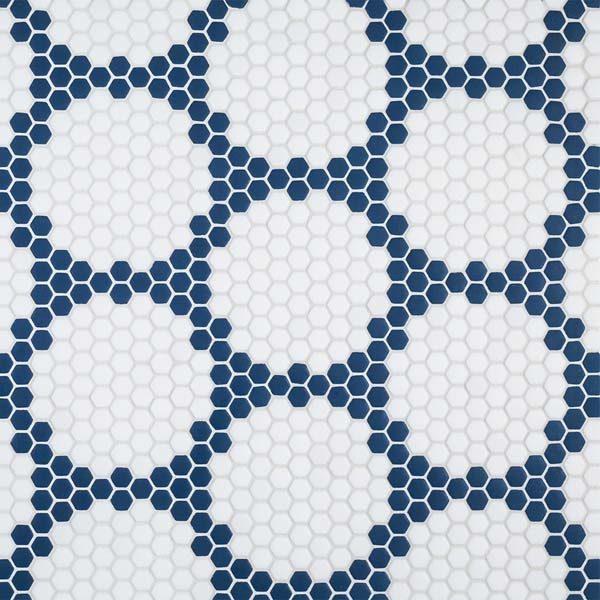 "Navy Herald 5/8"" Hexagon Mosaic"