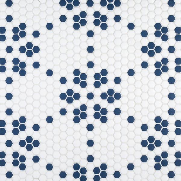 "Navy Tribune 5/8"" Hexagon Mosaic"