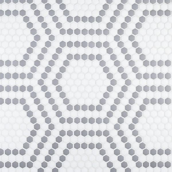 "Grey Union 5/8"" Hexagon Mosaic"
