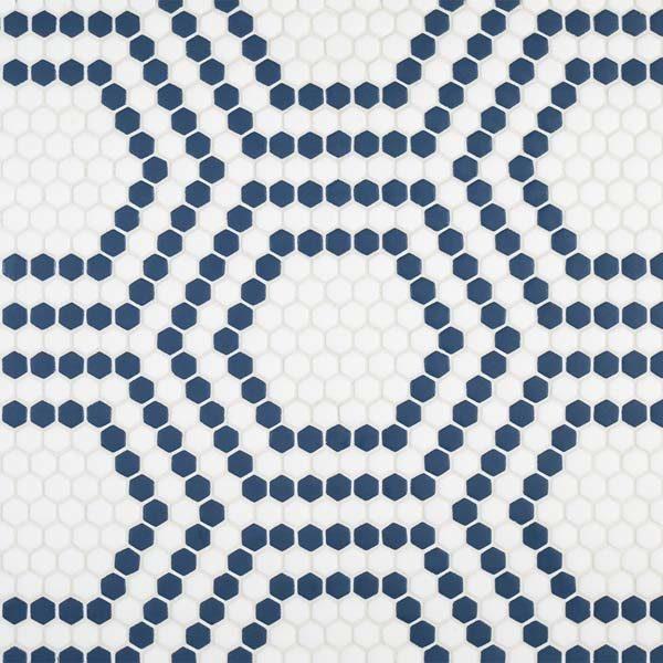 "Navy Union 5/8"" Hexagon Mosaic"