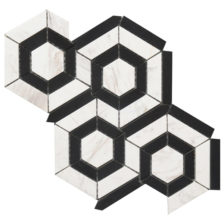 Rock Art Mosaics \ Hexagon - Black & White