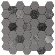 Rock Art Mosaics \ Hexagon - Gray Granite