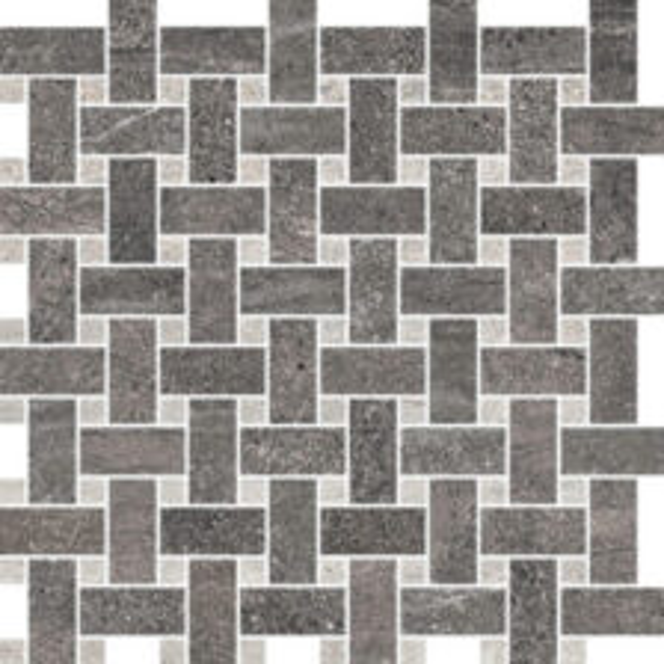 Basalt/Rock Grey Basketweave Mosaic