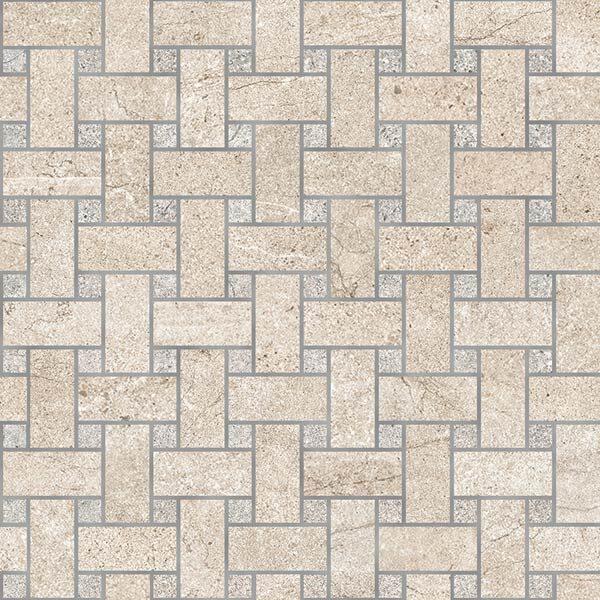 Sand Moon/Rock Grey Basketweave Mosaic