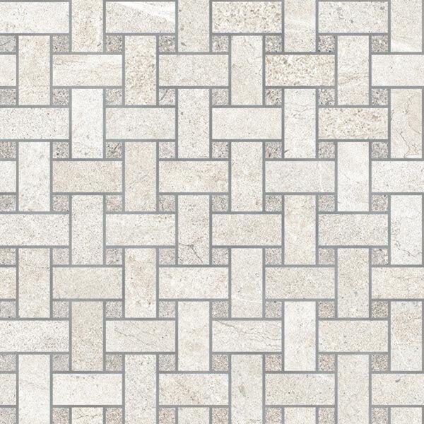 Snow/Rock Grey Basketweave Mosaic