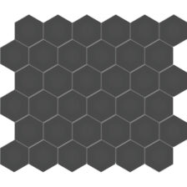 """Retro Black 2"""" Hexagon"""