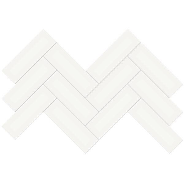 "Canvas White 2"" x 6"" Herringbone Mosaic"