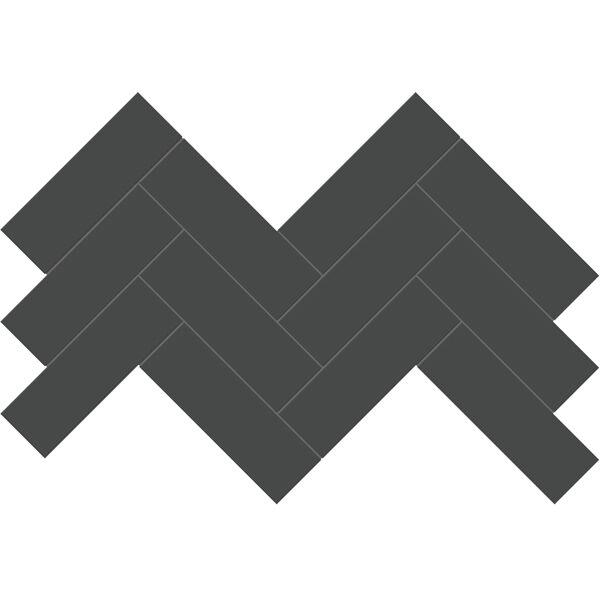 "Retro Black 2"" x 6"" Herringbone Mosaic"