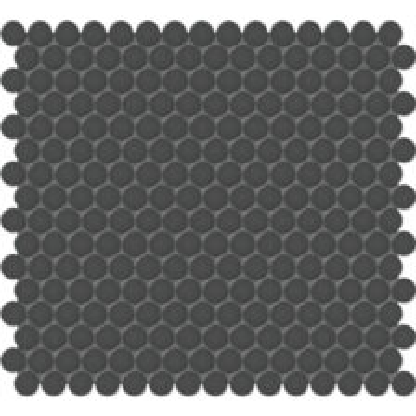 "Retro Black 3/4"" Penny Round Mosaic"