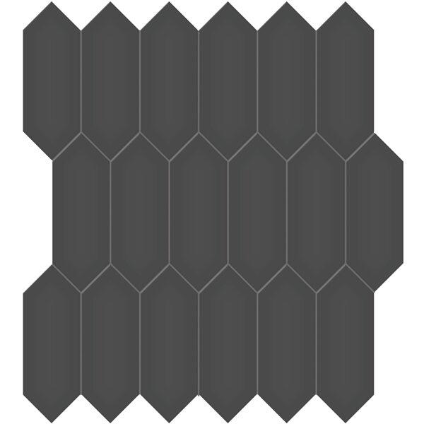 """Retro Black 2"""" x 5"""" Picket Mosaic"""