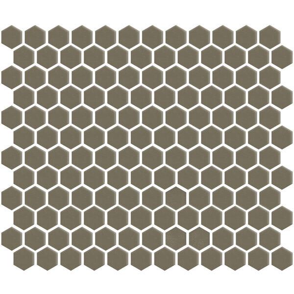 "Khaki Gloss 1"" Hexagon"